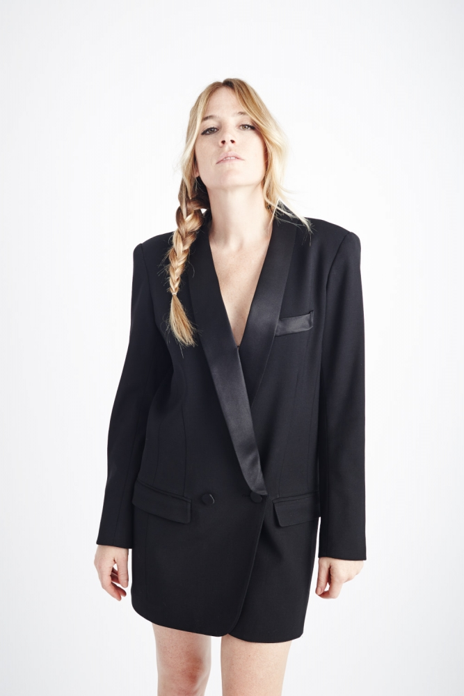 Less Than Zero Tuxedo Dress in Black